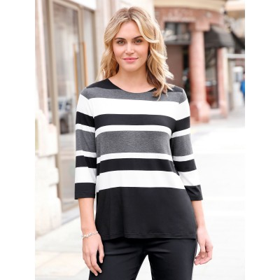Anna Aura Women Round neck top with 3/4-length sleeves black/grey/white 84426988 UXYZWNP