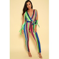 Kandy Kouture Women Fuchsia Lime Long Sleeve Cut Out Jumpsuit BDLOHDI