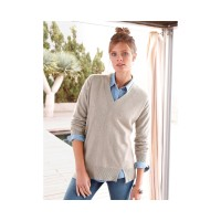 include Women V-neck pullover in 100% cashmere light taupe-mélange 82902188 TOVLEYY