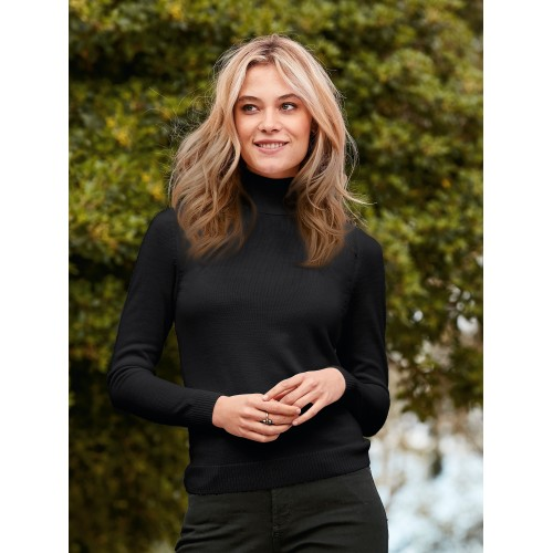 Peter Hahn Women Roll-neck jumper in 100% new milled wool black 88078188 CDOGKVI