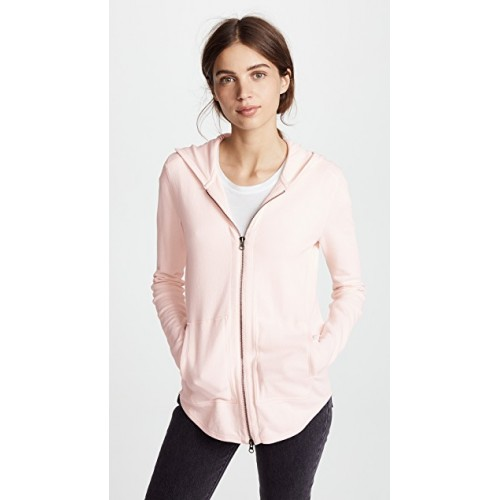 ATM Anthony Thomas Melillo Women Zip Up Hoodie Faded Rose Raw cuffs Zip-up sweatshirt style ATMAN30361 GEBVDII