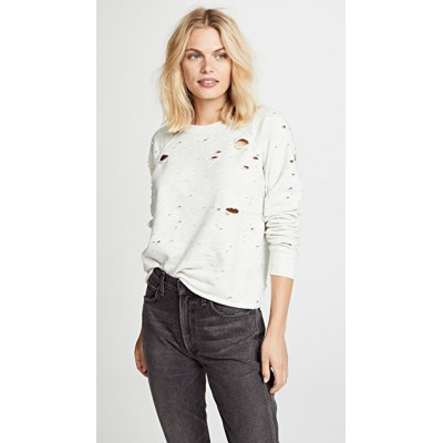 NSF Women Carolina Sweatshirt Ash Heather Rolled hem Distressed NSFXX30491 XOCVQWL