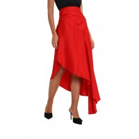 Women's Clothing MONSE Satin Asymmetric Skirt With Side Slit Rosso Midi skirt LHUGJWF