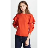 Opening Ceremony Women Flounce Sleeve Top Vixen Red Slit sleeves Ribbed cuffs & hem OPCER41370 ZFTTHYY
