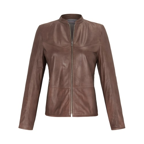 Samoon Women Leather jacket brown 11306188 EVNRSXT