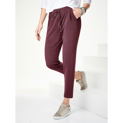 Peter Hahn Women Ankle-length trousers in slip-on jogger style burgundy drawstring metal waist pleats ends 60969688 SAFKPHA