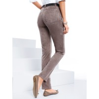 Peter Hahn Women Slip-on trousers in suede look taupe belt loops elasticated waistband mock 63574888 UTQSHAM
