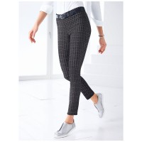 Peter Hahn Women Slip-on trousers Sylvia fit anthracite/black Timeless houndstooth pattern outfits Superstretch 60476988 XLBKBTR
