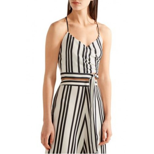 ALICE+OLIVIA Women Striped silk wrap-effect top Ecru and black silk Hook and zip fastening at back 2526016082314520 VBBNYWY
