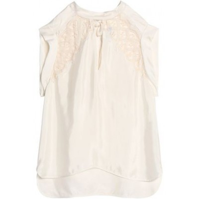 SANDRO Women Vally lace-paneled satin top Top Ties at back 13331180552075336 QQIYIBP